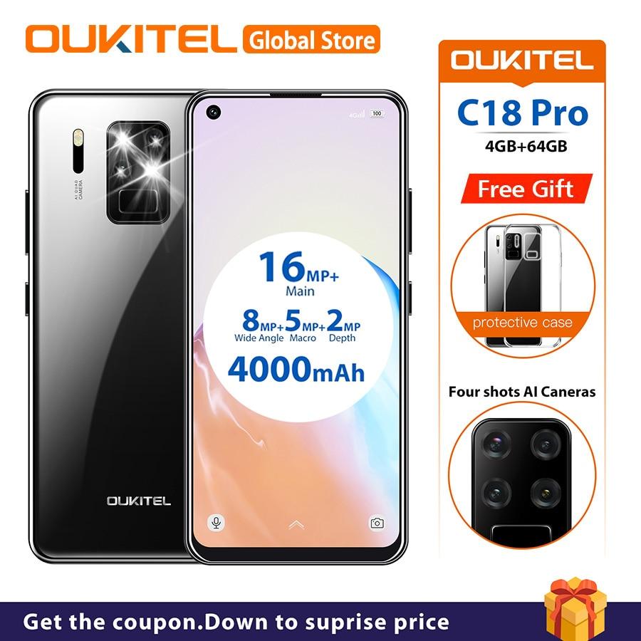 "OUKITEL C18 Pro 6.55"" Android 9.0 MT6757 4GB 64GB 16MP 4 Cameras Smartphone 1600*720 4000mAh Octa Core Fingerprint Mobile Phone"