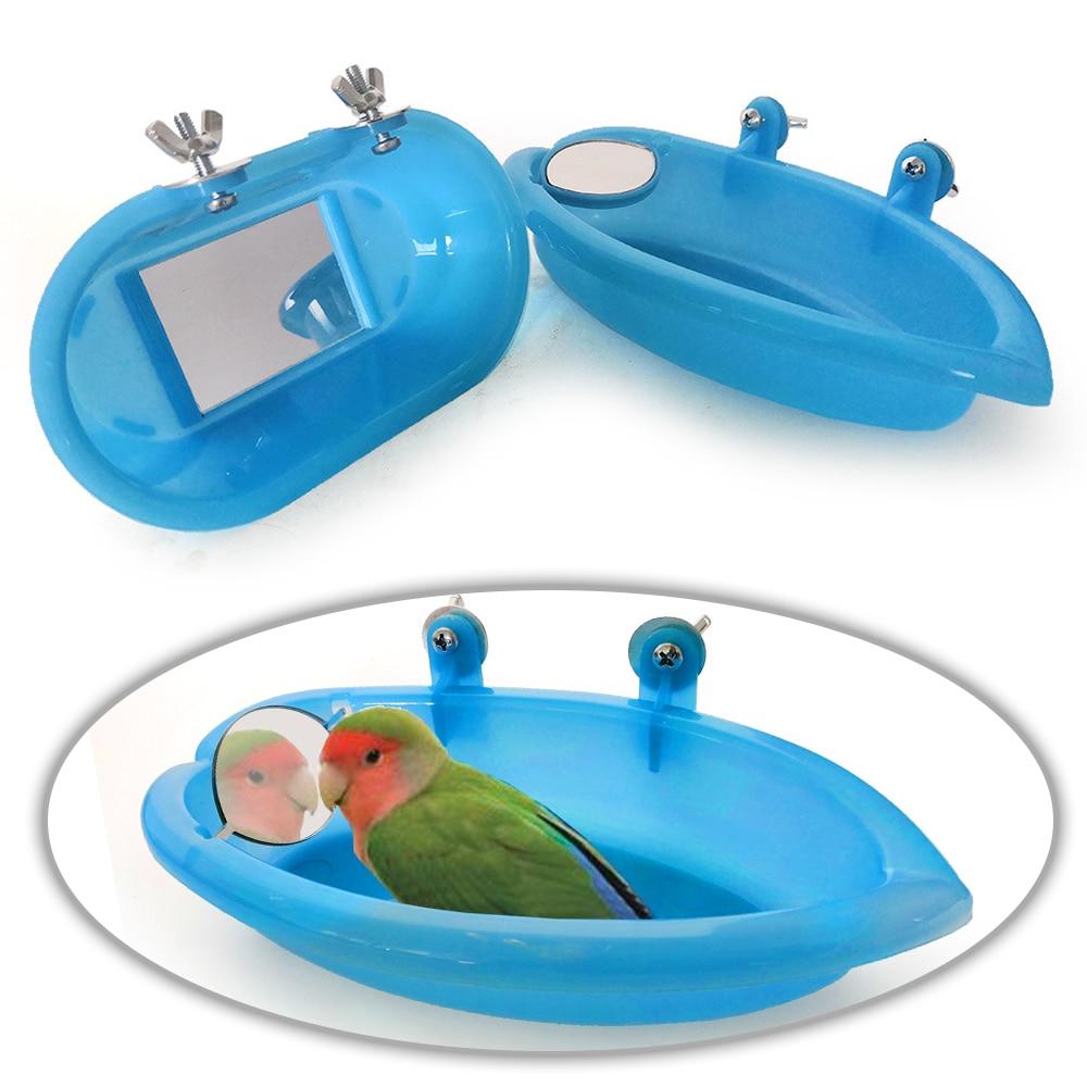 1 Pc Bird Perch Shower For Bath Bird Cage Basin Parrot Bath Basin Parrot Shower Supplies With Mirror