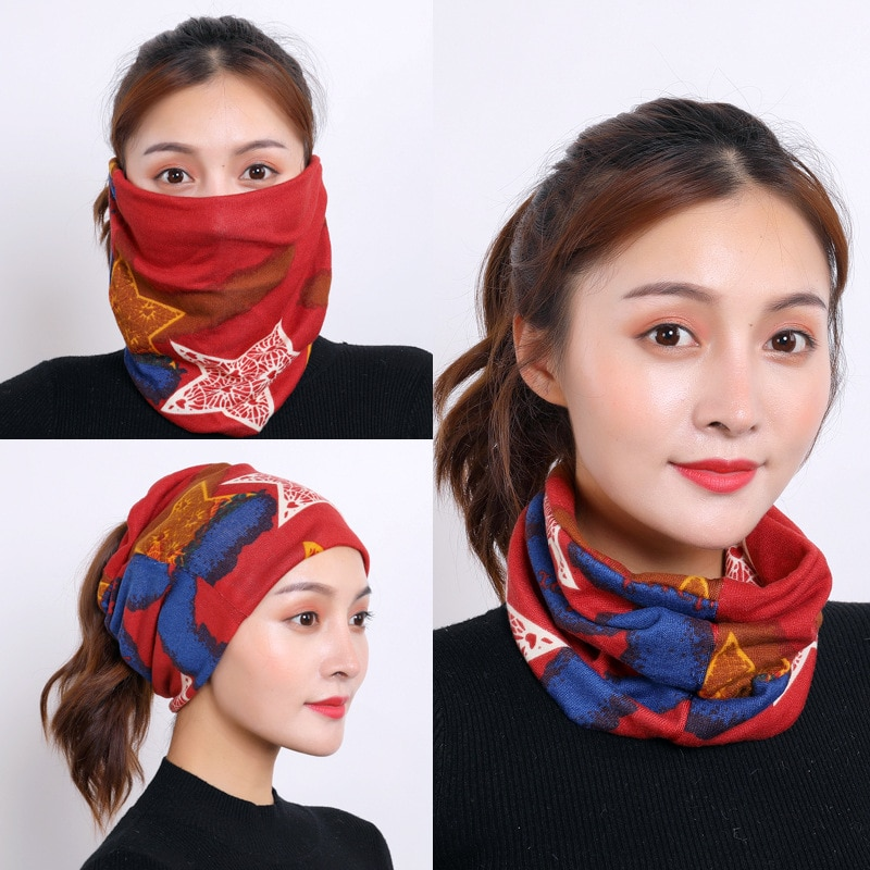 Women And Men Winter Fashion Multifunctional Circle Pullover Scarf Headscarf Face Mask Outdoor Cycling Sports Warm Scarves Ring