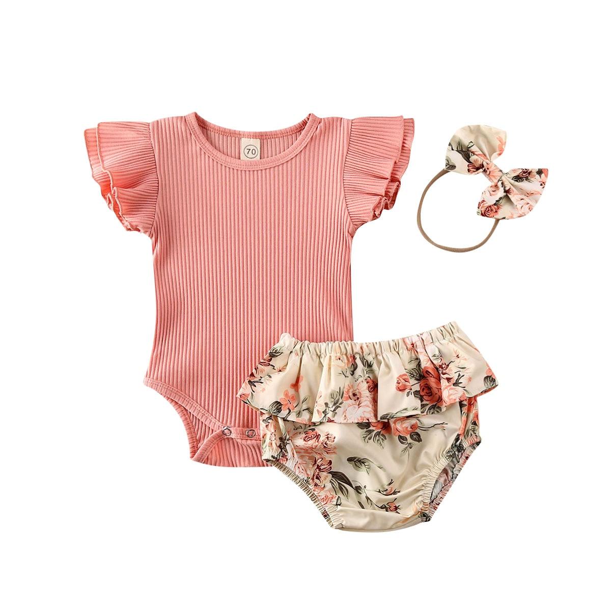 Baby Summer Clothes Infant Newborn Baby Girl Ruffled Ribbed Bodysuit Floral Shorts Headband 3Pcs Set