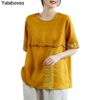 retro vintage embroidered ramie short sleeve t shirt for womens summer linen o neck yellow white solid color tees and tops