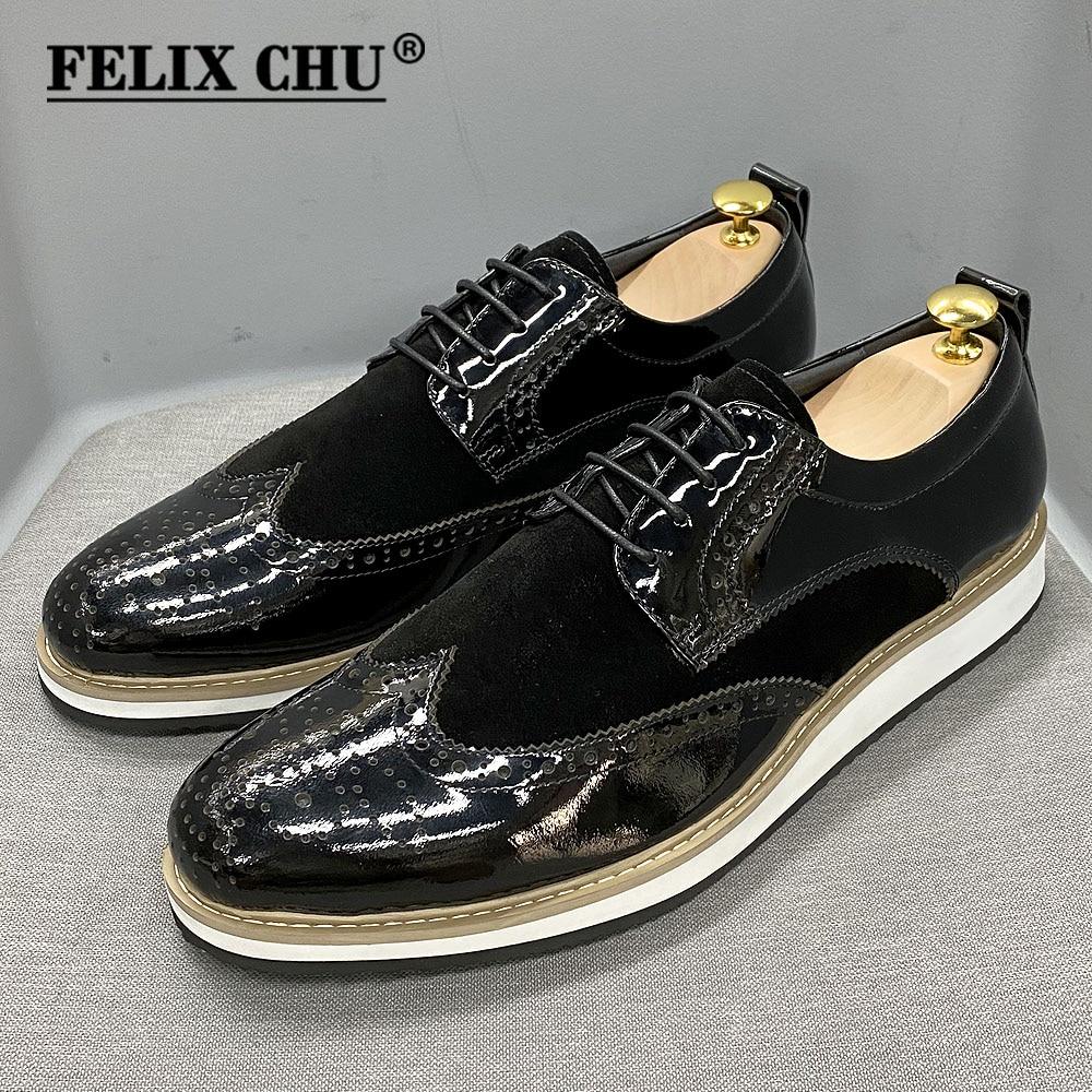 النمط البريطاني الكلاسيكية رجال الأعمال حذاء كاجوال براءات الاختراع والجلود الجلد المدبوغ وينغيب البروغ Oxfords الأسود شقة أحذية أنيقة للرجال