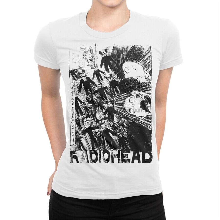 Radiohead Группа футболка музыка рок рубашка женская все размеры 2Xl 3Xl 4Xl 6Xl футболка