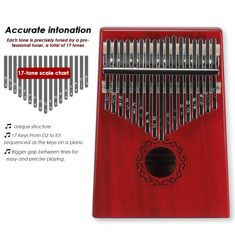 Kalimba Piano 17 Key Mahogany Thumb Piano Musical Instrument Africa Finger Piano Instrumento Musical Full Set Of Accessories enlarge