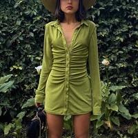 women bodycon mini dresses autumn ruched dress long sleeve button vestidos streetwear sexy turn down collar female slim party