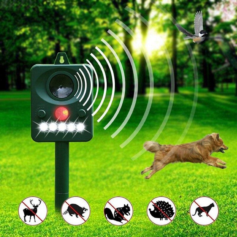 Ultrasónico con energía Solar gato perro Animal repelente eficaz Animal Chaser, humano y seguro plagas potentes luces estroboscópicas LED