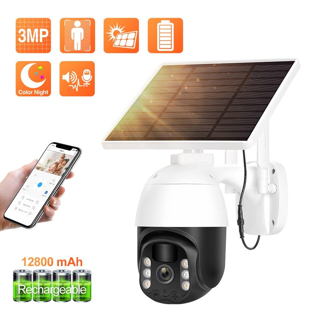 Techage-كاميرا مراقبة خارجية PTZ IP WiFi hd 3MP (IP66) ، جهاز أمان لاسلكي ، مع لوحة شمسية وكشف PIR