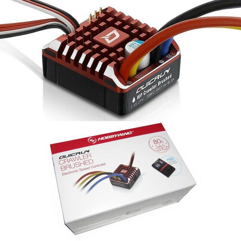 Combo Hobbywing QuicRun a prueba de agua cepillado 80A ESC con tablero de programa RC 1080 Crawler