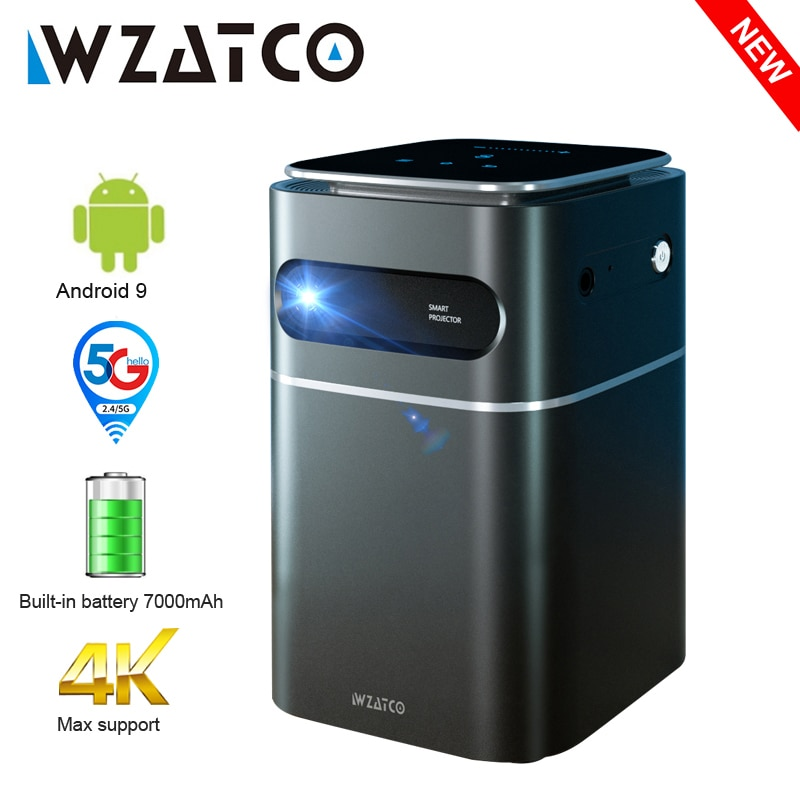 WZATCO A8 DLP Portable Projector Smart Android 9.0 5G WiFi support 1080P Full HD 4K LED Beamer Mini Home Theater HD-in Proyector
