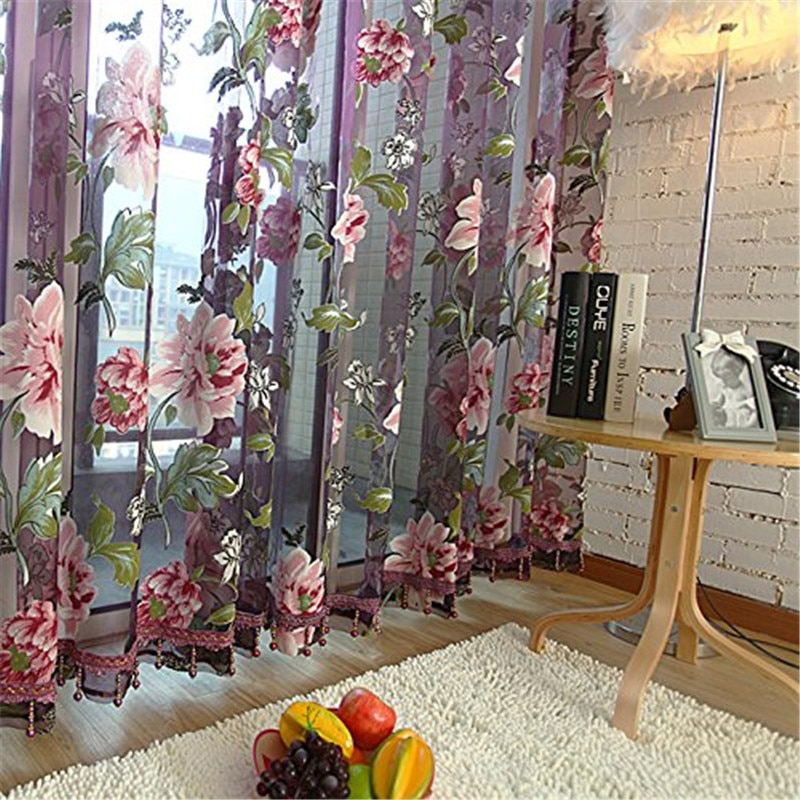 Topfinel Purple Floral Tulle in Sheer Curtains for Living Room the Bedroom Kitchen Shade Window Treatment Curtain Blinds Panel