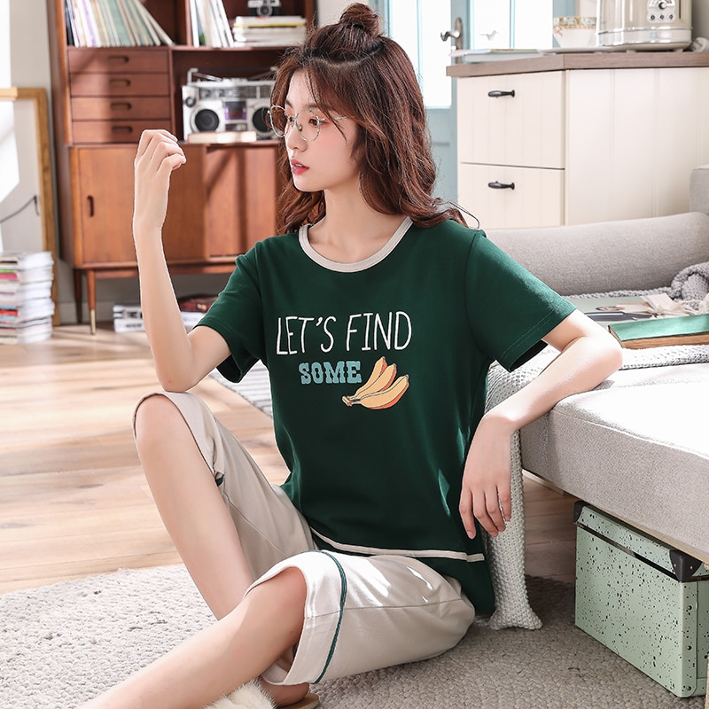 Summer pajamas woman casual cotton pajamas short sleeve cropped pants cute PJ home clothes 2 pcs set girl fashion pijama cartoon