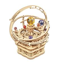 Starry Night Music Box Wood Crafts Kids Toy Gift 3D Planet Rotation Mechanical Musical Case DIY Asse