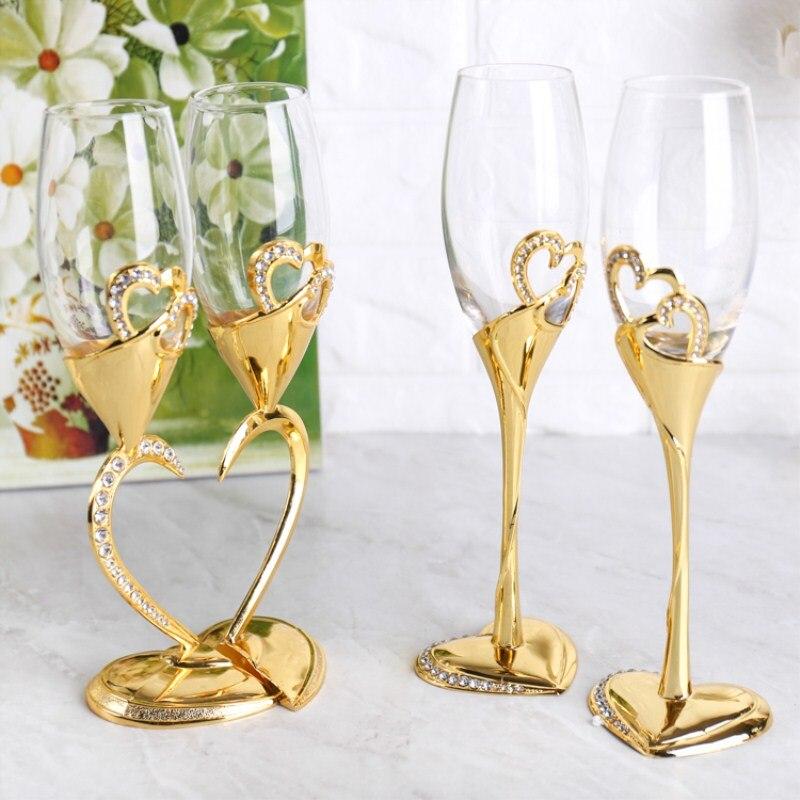Vinho de vidro de cristal pé alto copo duplo presente de casamento decoração em forma de coração vermelho ouro prata amantes copo de aniversário w
