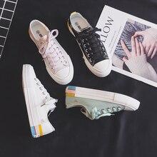 2020 novo estilo de lona sapatos femininos coreano-estilo multi-color chique estudantes rua branco tênis rosa formadores baixo topo salto plano