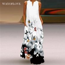 WAYOFLOVE Summer Beach Vintage Dress 2021 White Casual Plus Size Long Dresses Woman Party Sleeveless