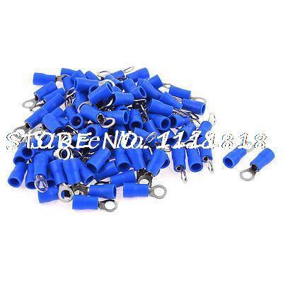 100 Uds RV2-4 AWG 16-14 azul PVC manga no aislada anillo Conector de terminales