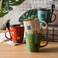 ceramic coffee mug tea cups with handle milk mug coffe cup travel coffee mug with lid coffe mug hand painted retro office home