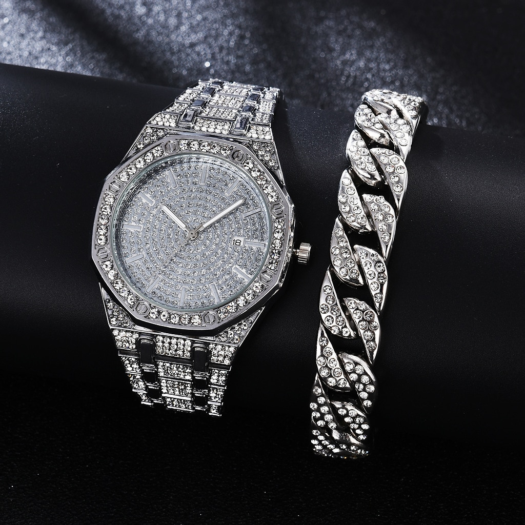 Diamond Watch for Mens Top Brand for Men Luxury Iced Out Gold Watch Hip Hop Quartz Wristwatch Relogio Masculino Mens Watch Reloj watch for women top brand luxury iced out watch diamond watch for men iced out cuban link chain necklace wristwatch man hiphop