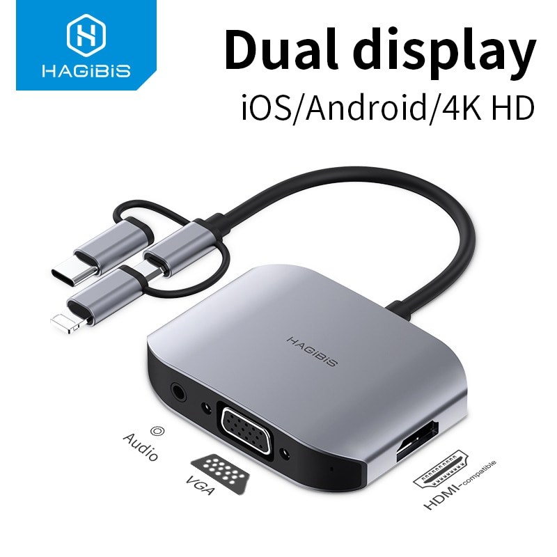 Hagibis-محول VGA HDMI متوافق مع USB Type C/Micro USB إلى جهاز عرض تلفزيون 4K ، شاشة HDTV ، أجهزة الهواتف المحمولة