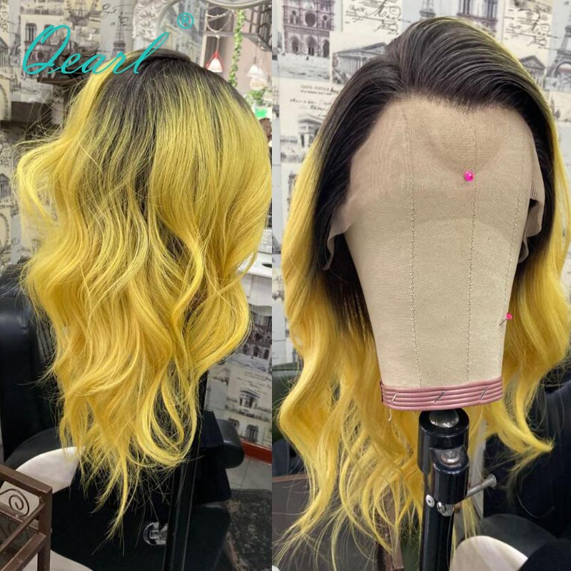 Ombre Black Yellow Colored Lace Front Wig 13x4/13x6 Human Hair Wigs Free Part Pre plucked Wavy Remy Hair with Baby Hairs 150%