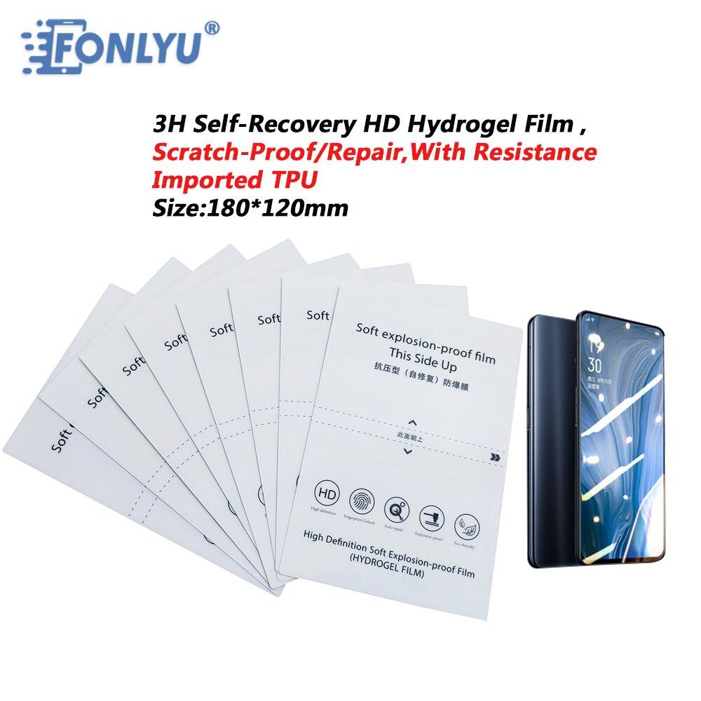 FONLYU 50 قطعة 3H ضغط إصلاح هيدروجيل فيلم ورقة واقي الشاشة لحافة سطح الهاتف ورقة الراسمة لقطع