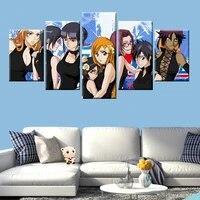 Affiche sur toile dange japonais  peinture sur toile  5 panneaux  Art deco  maison  image de chambre de garcons