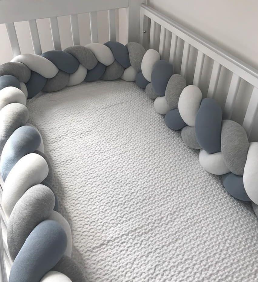 3M, Protector De parachoques para cama De bebé, almohada para cuna, cojín con nudo trenzado, cuna con parachoques, decoración para habitación De bebé