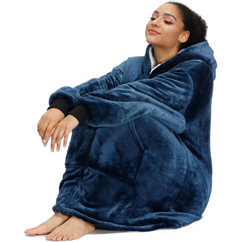 Худи женское оверсайз с рукавами, Свитшот в клетку, зимнее флисовое худи с карманами, Женский свитшот с капюшоном, оверсайз