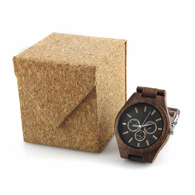 High Quality Valentines Gift Wristwatach Best Sellers Designer Luxury Dress Men 3 Eye Day Date Walnut Wood Watches for Him enlarge
