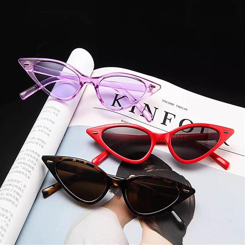 NEW Cat Eye Sunglasses Women Fashion Triangle Small Size Frame Eyewear Reb Blue Green Lens Sun Glasses UV400