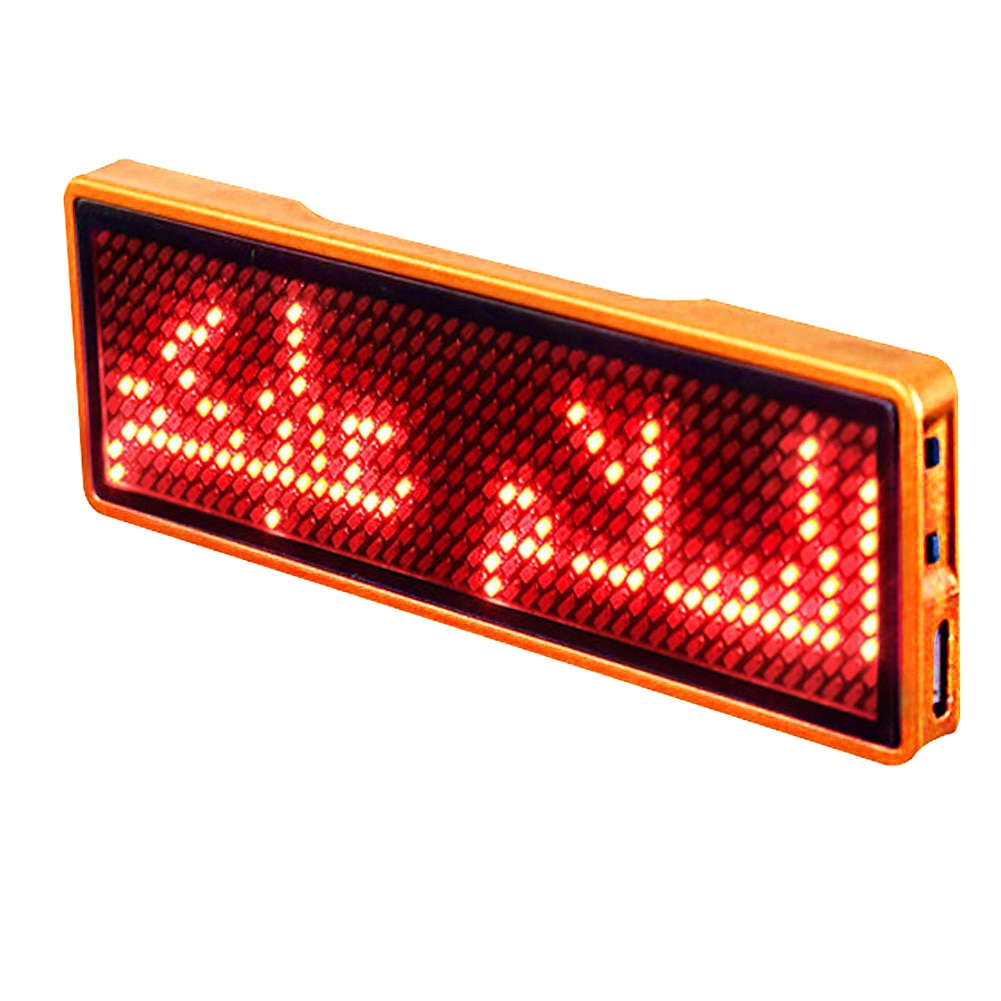 Recargable evento publicidad fiesta tarjeta de visita señal de mensaje Digital programable desplazamiento Mini LED nombre etiqueta insignia pantalla