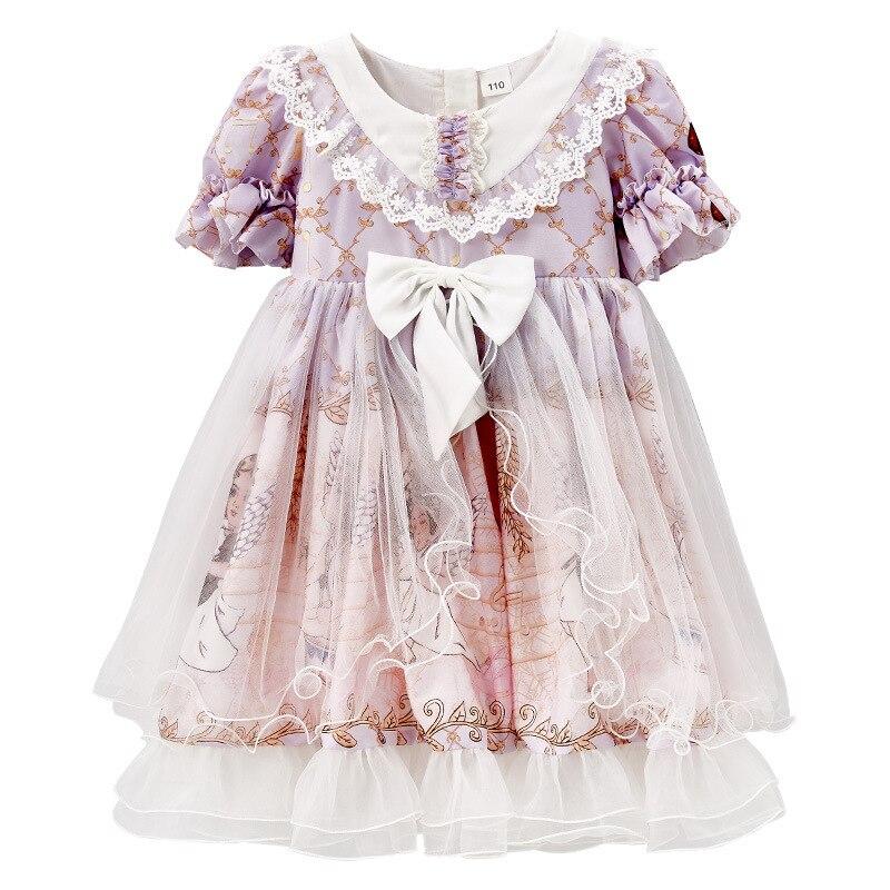 Children Princess Dress For Girls Lolita Puff Sleeve Mesh Lacework Kids Dress Summer Children Clothes with Bow 4-12Y