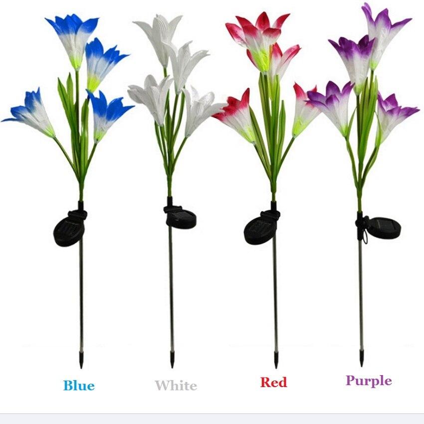 solar led gramado luz 4leds artificial lirio flor lampada ao ar livre para jardim