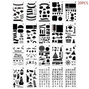 20pcs/set Journal Drawing Template Stencil Painting Embossing Scrapbooking DIY Diary Decorative Art Craft