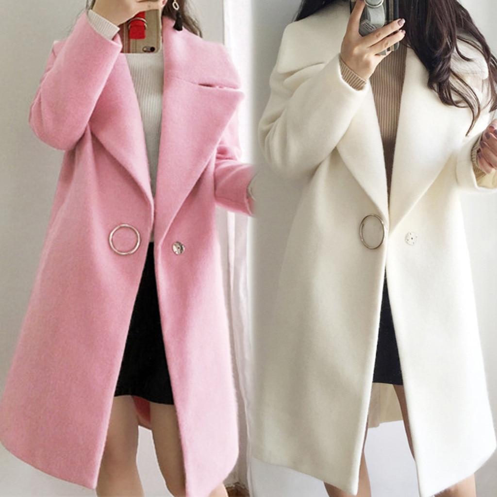 Chaqueta larga de mujer, abrigo de invierno cálido con volantes, abrigo largo con cuello para mujer, abrigo informal de otoño 2019 rosa para mujer # g4