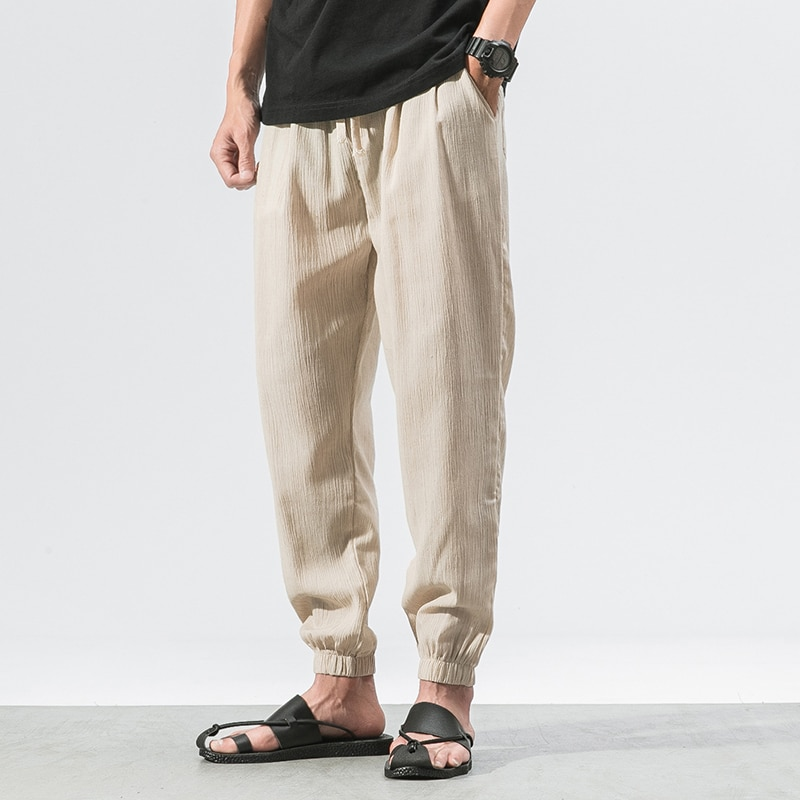 Loose Pants Male Casual Harem Pants Streetwear Spring and Summer Men Fashion Chinese Style Mens Cotton Linen Trousers