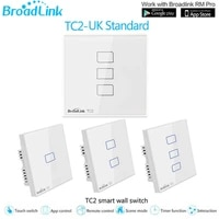 Broadlink     interrupteur WiFi TC2 UK 1  2  3 gangs  panneau tactile  pour maison intelligente  telecommande IR   RF  fonctionne avec Alexa Google Home