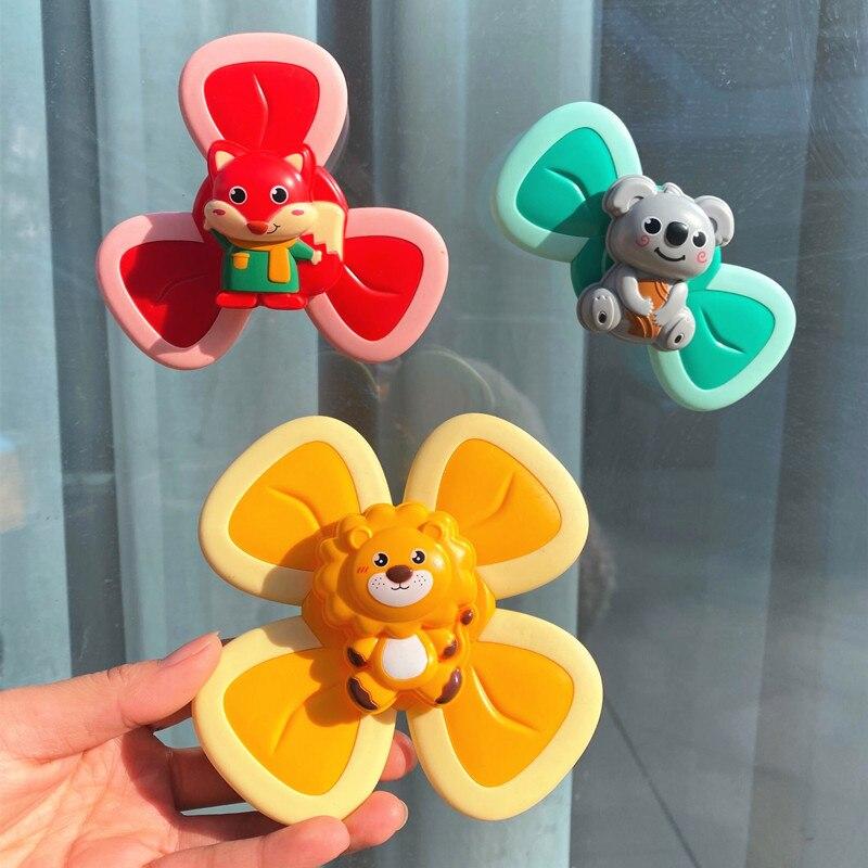 Игрушка-Спиннер на присоске для детей, спиннинговые детские погремушки, игрушки-фиджеты, сенсорный мультяшный Спиннер на присоске, детские ...