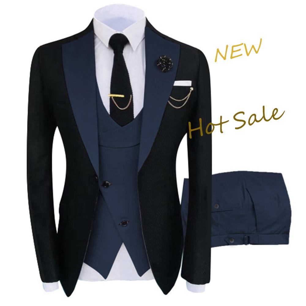 New Costume Homme Popular Clothing Luxury Party Stage Men's Suit Groomsmen Regular Fit Tuxedo 3 Peice Set Jacket+Trousers+Vest