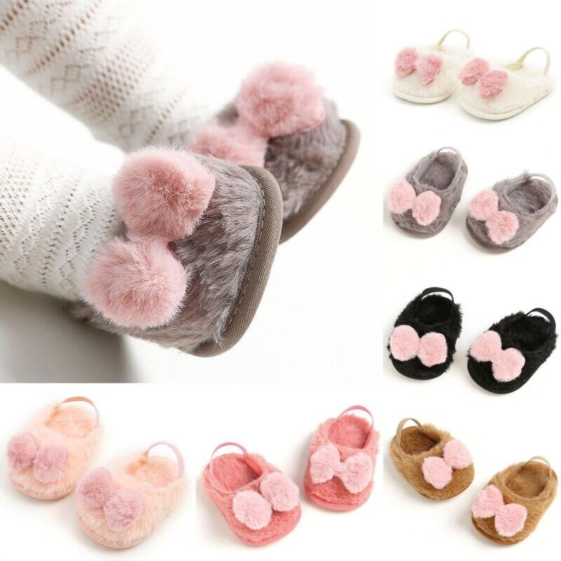 Lindos zapatos de pelo de conejo para bebé niño niña invierno cálido Faux Bow zapatos casuales de bebé suave suela plana bebé cálido zapatos para 0-18M