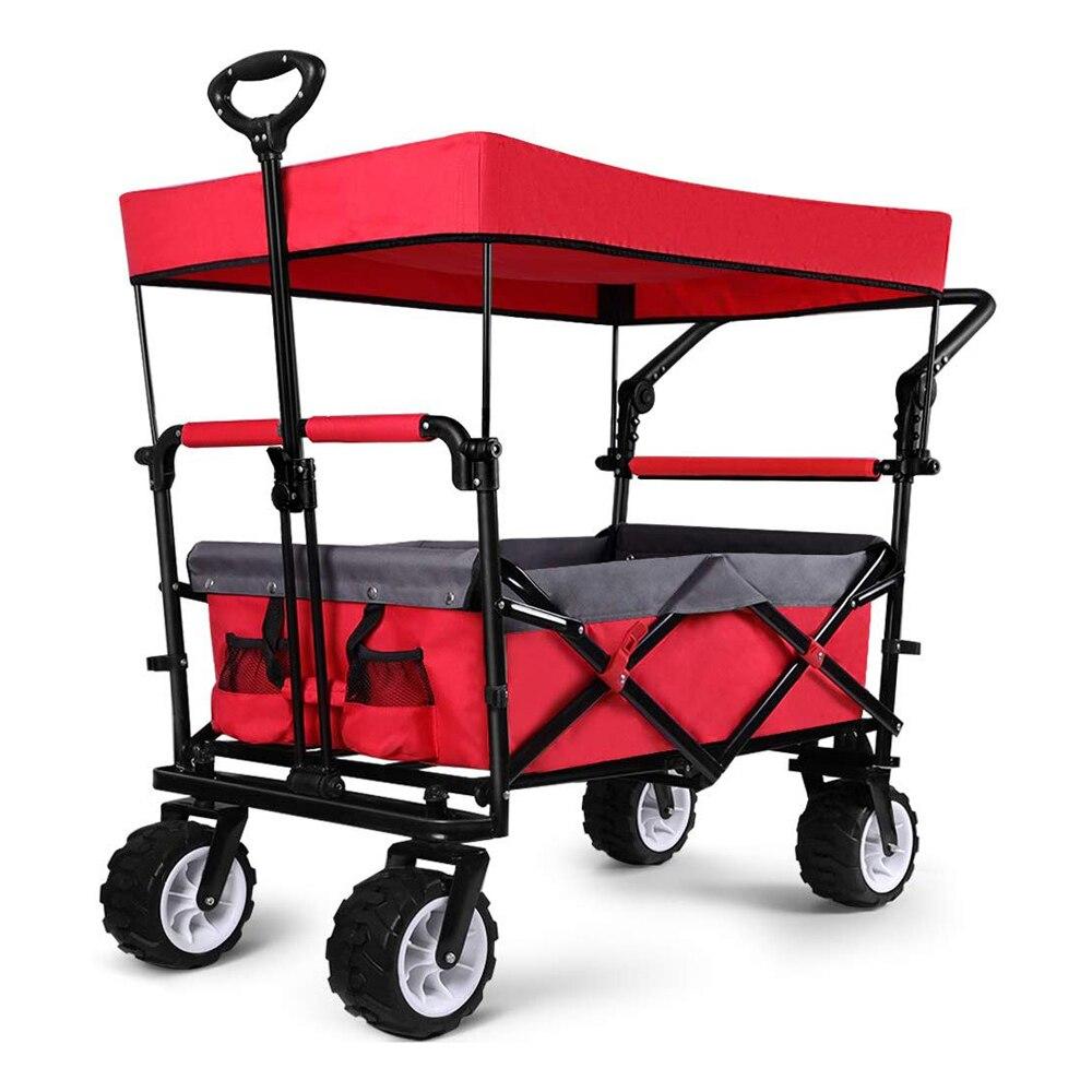 Folding Beach Carts Wagon Collapsible Utility Big Wheels Shopping Cart for Beach Outdoor Camping Garden Canopy Top