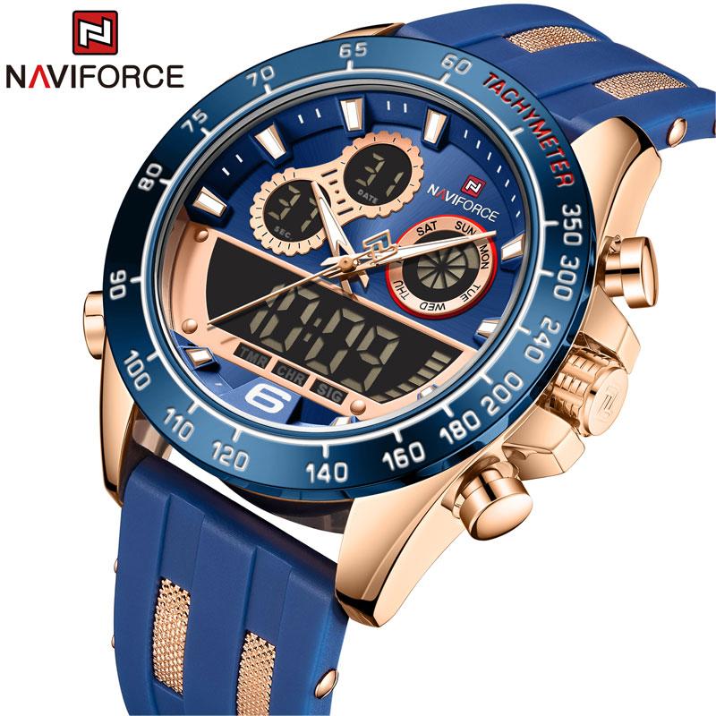 NAVIFORCE Men Luxury Brand Watch Waterproof Digital Military Quartz Wrist Watch Sport Chronograph Si