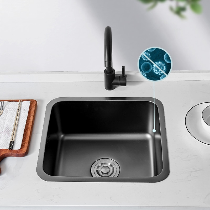 304 Stainless Steel Kitchen Sink Bar Sink Drop-in Or Undermount Single Bowl Black Sink Wash Basin For Small Apartment  Balcony 304 stainless steel rose gold kitchen sink undermount manual sink single sink with plate kitchen bowl set steel