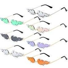 1PC Unisex UV 400 Rimless Fire Flame Sunglasses Luxury Narrow Wave Sun Eye Glasses Streetwear Eyewea