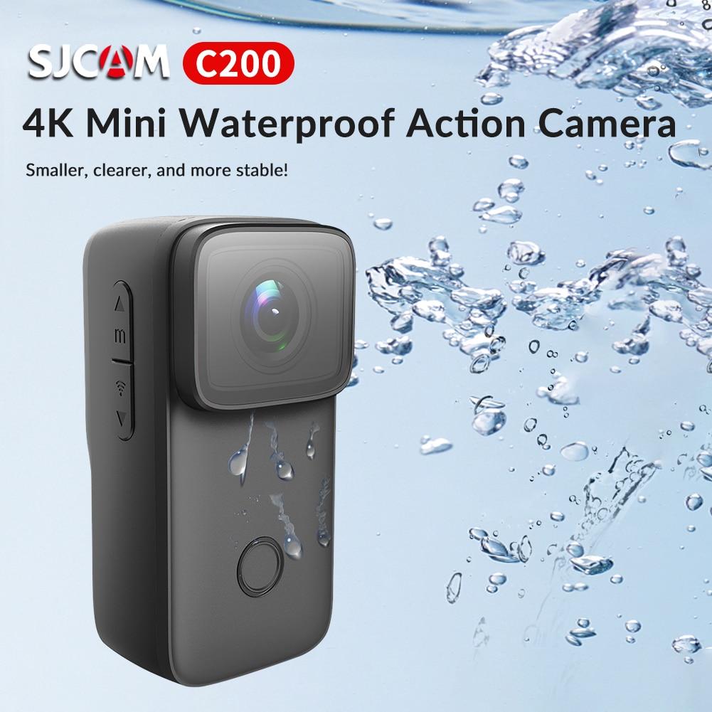 SJCAM C200 عمل كاميرا HD 4K 1.28 بوصة شاشة 5 متر مقاوم للماء تحت الماء التحكم عن بعد خوذة تسجيل الفيديو برو كاميرا رياضية على شبكة الإنترنت