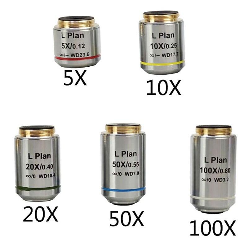 مجهر معدني إنفينيتي ، عدسة الهدف لمسافات طويلة ، 5X ، 10X ، 20X ، 50X 100x