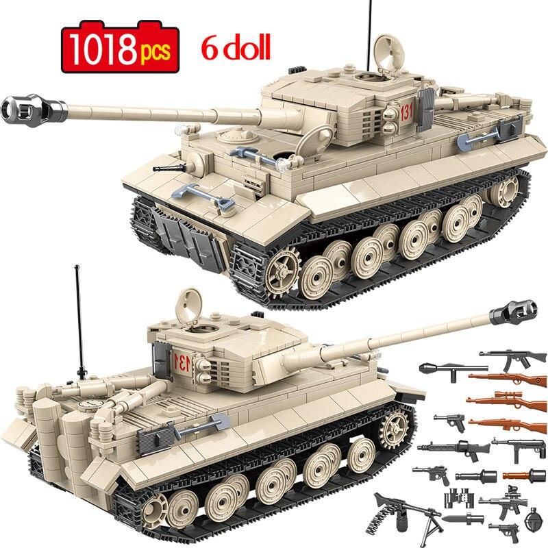 1018 pçs militar alemão tigre 131 tanque blocos de construção do exército ww2 soldado arma tijolos educação brinquedos para meninos