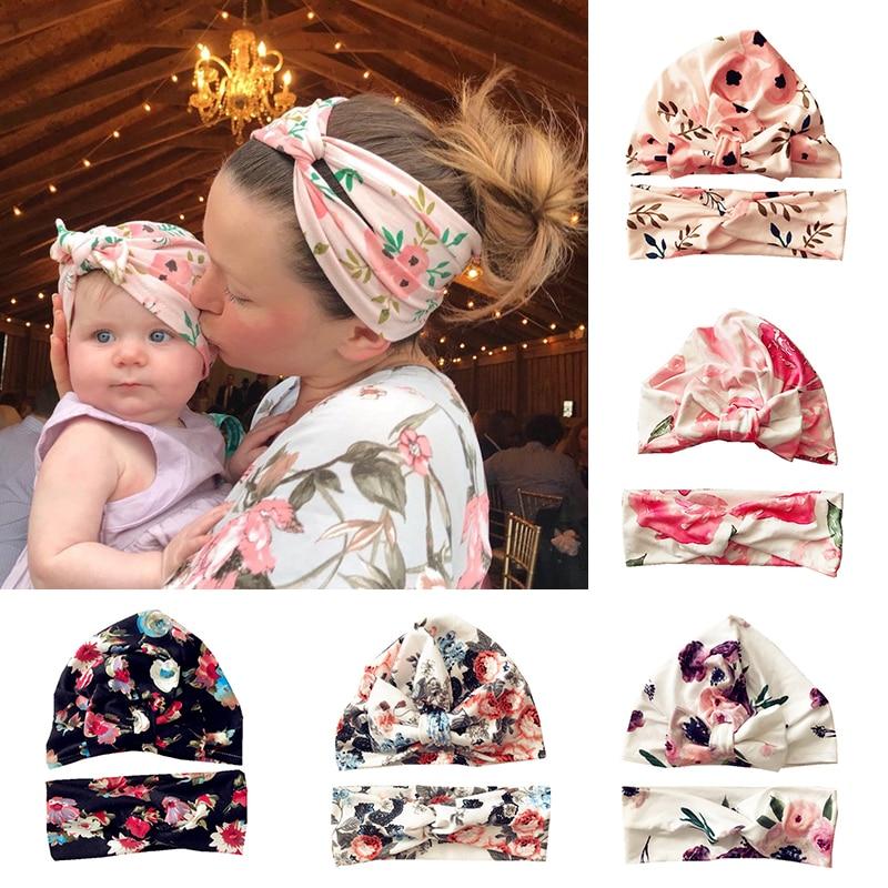 2 Teile/satz Baby Stirnband Cap Set Blume Neugeborene Stirnbänder Haar Bands Für Mädchen Weiche Baumwolle Infant Kleinkind Turban Haar Zubehör