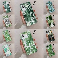 green plant leaf accessories phone case transparent for vivo s 9 7 6 iqoo neo 7 5 3 z3 z1 x e pro soft tpu clear mobile bags