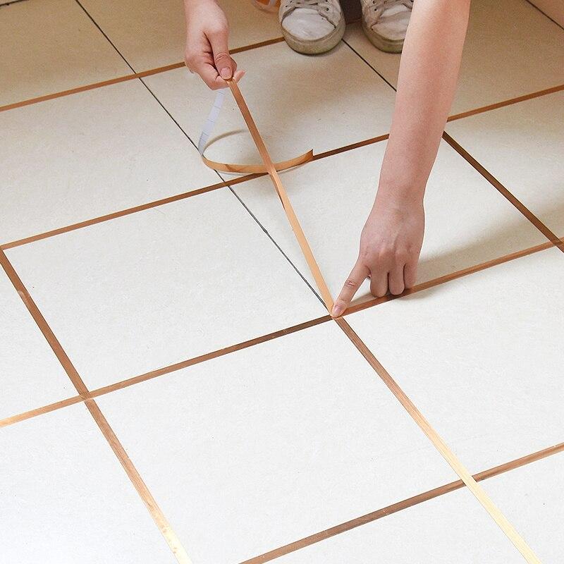 Adhesivos para baldosas dorados de 50 M, adhesivo impermeable para pared, cinta de sellado, cinta de azulejo de piso, adhesivo de costura de belleza, calcomanías para decoración del hogar